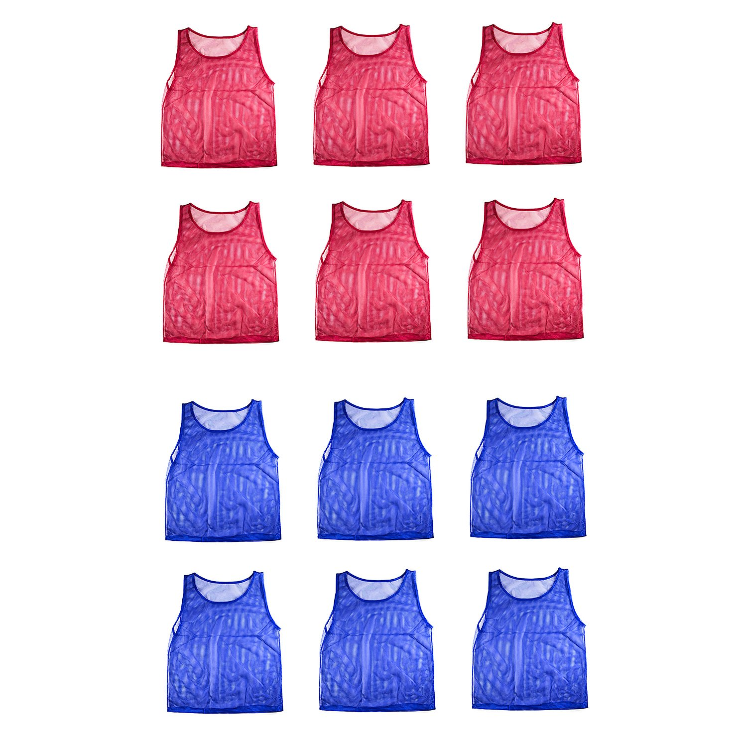 Nylon Mesh Scrimmage Team Practice Vests Pinnies Jerseys for Children Youth Sports Basketball, Soccer, Football, Volleyball (12 Jerseys) by Super Z Outlet (Image #1)