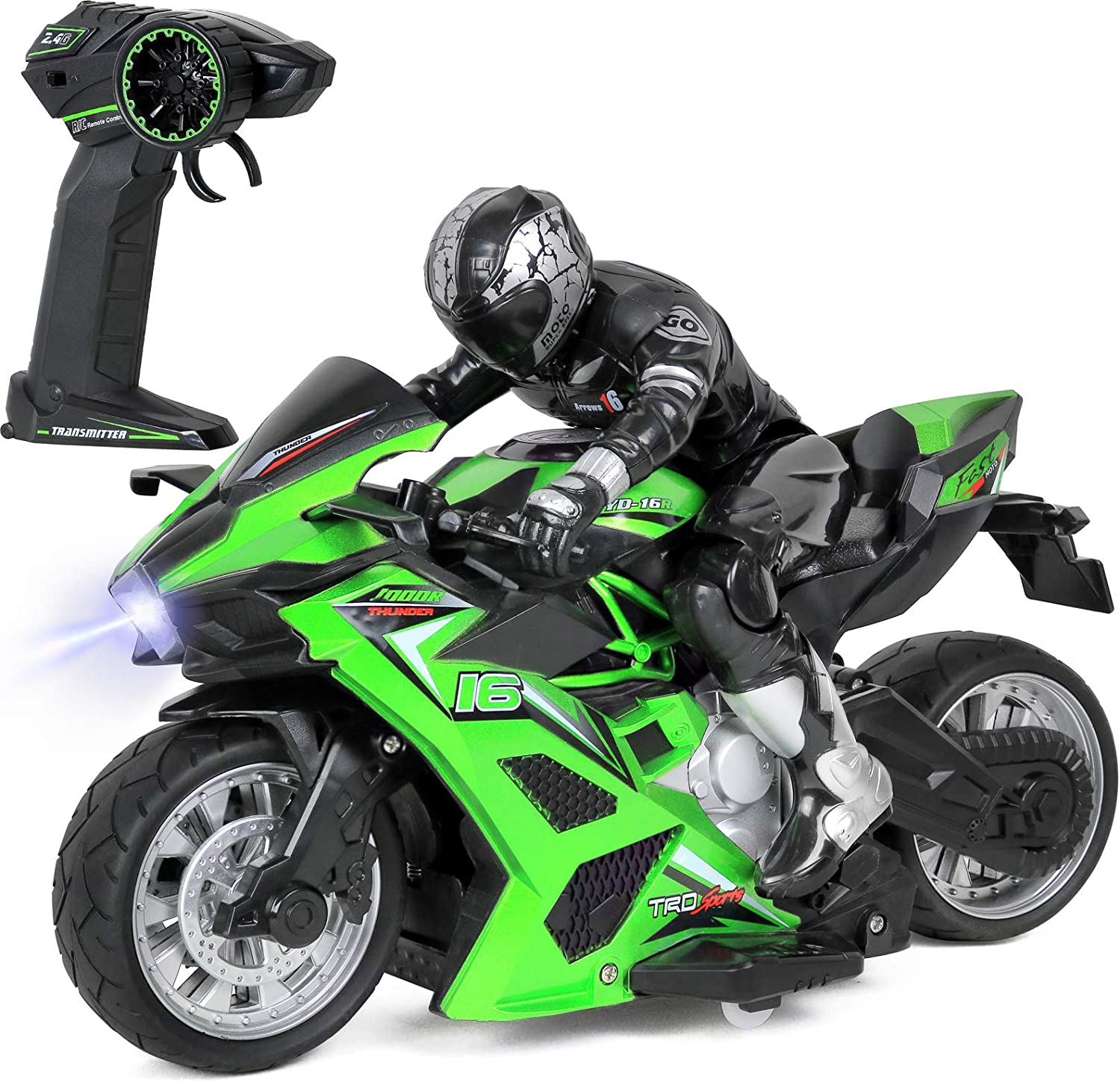 Click N Play Cross Country High Speed RC Remote Control Stunt Motorcycle with Riding Figure-Colors & Styles May Vary!