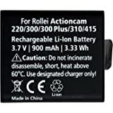 Rollei Akku AC 220/300/300Plus/310/320/415/416 - Akku für  Rollei Actioncams  - Lithium-Ionen-Akku (3,7V / 900 mAh)
