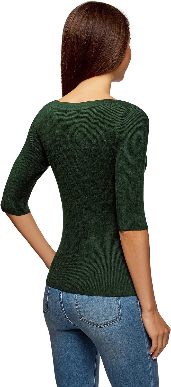 oodji Collection Mujer Jersey Texturizado con Escote Barco