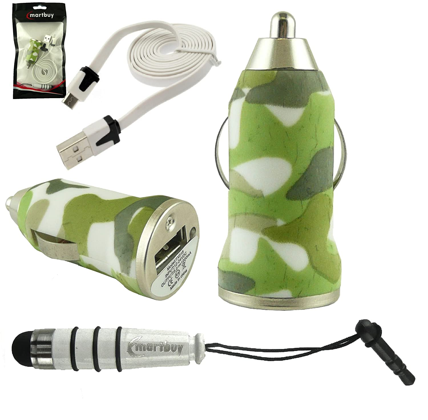 Green Camouflage Bullet 1 Amp USB Car Charger White Mini Metallic Stylus White Flat Anti-Tangle Micro USB Sync/Transfer Data & Charge Cable Emartbuy Trio Pack For LG K7/LG K10/LG Optimus Zone 3