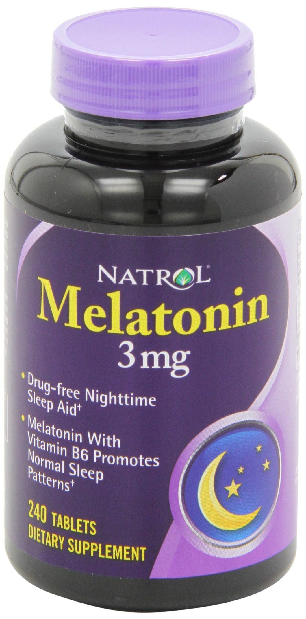 Natrol Melatonin Tablets, 3mg, 240 Count (Pack of 2)