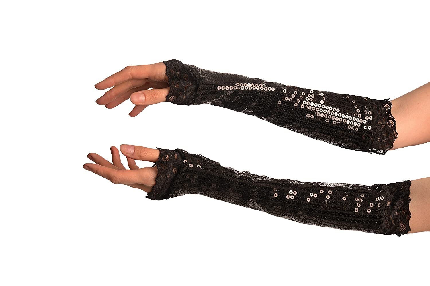 Black Sequin Elbow Party Gloves With Lace - Gloves GL003380