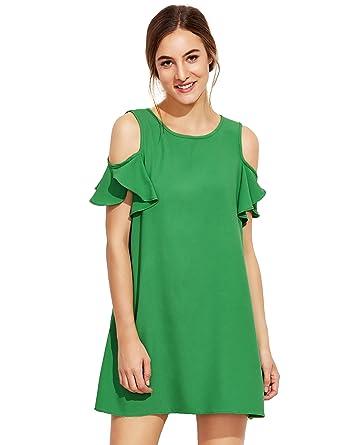 1c7253efcc7e Milumia Women's Summer Cold Shoulder Ruffle Sleeves Shift Dress Green S