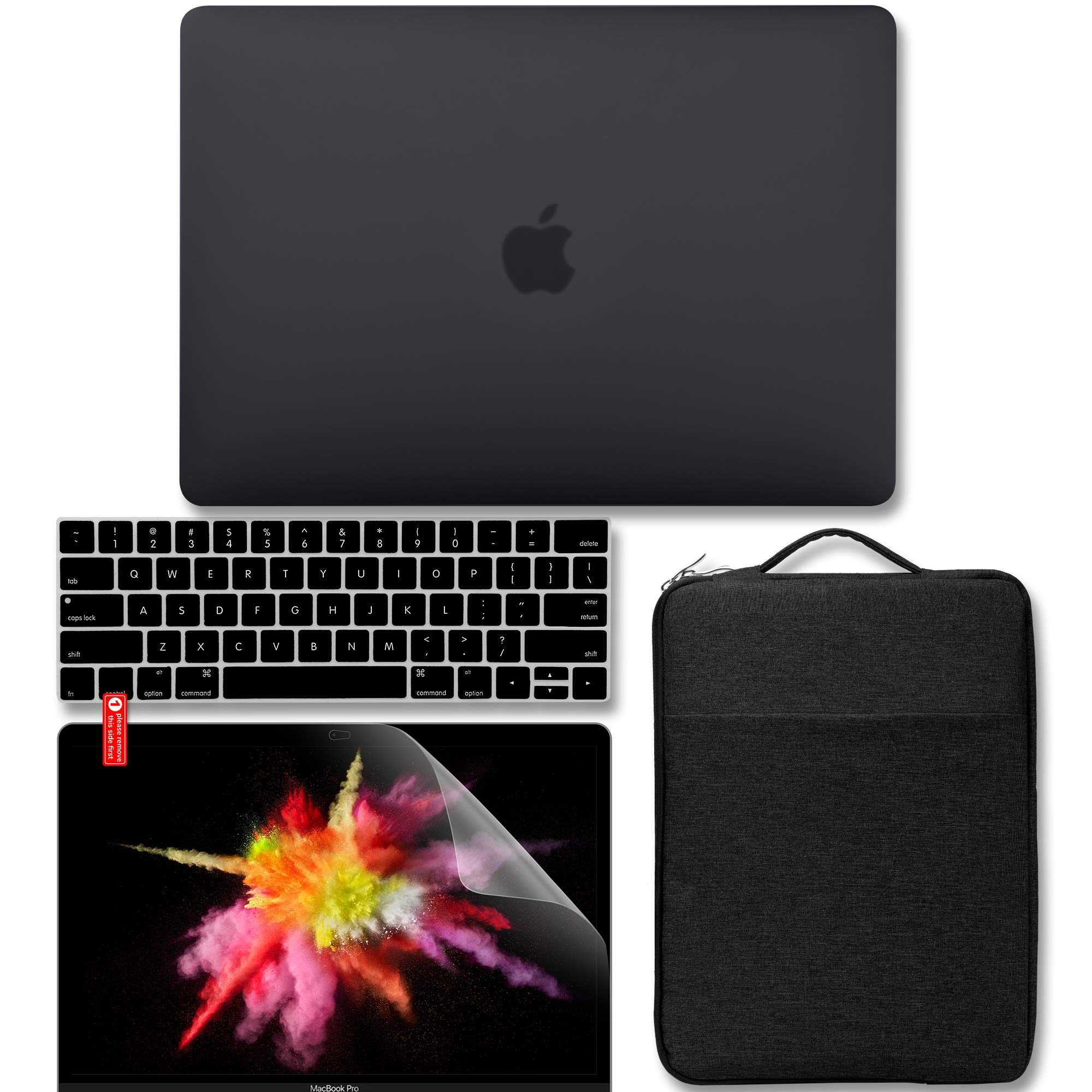 GMYLE MacBook Pro 13 inch Case 2018 2017 2016 Release A1989/A1706/A1708, Plastic Matte Hard Case, Carrying Sleeve Bag, Keyboard Cover & Screen Protector Compatible Newest Mac Pro 13 Inch, Black