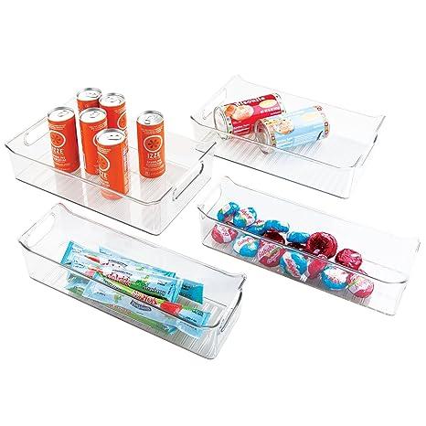 mDesign Juego de 4 cajas de plástico para cocina – Envases de plástico para alimentos –