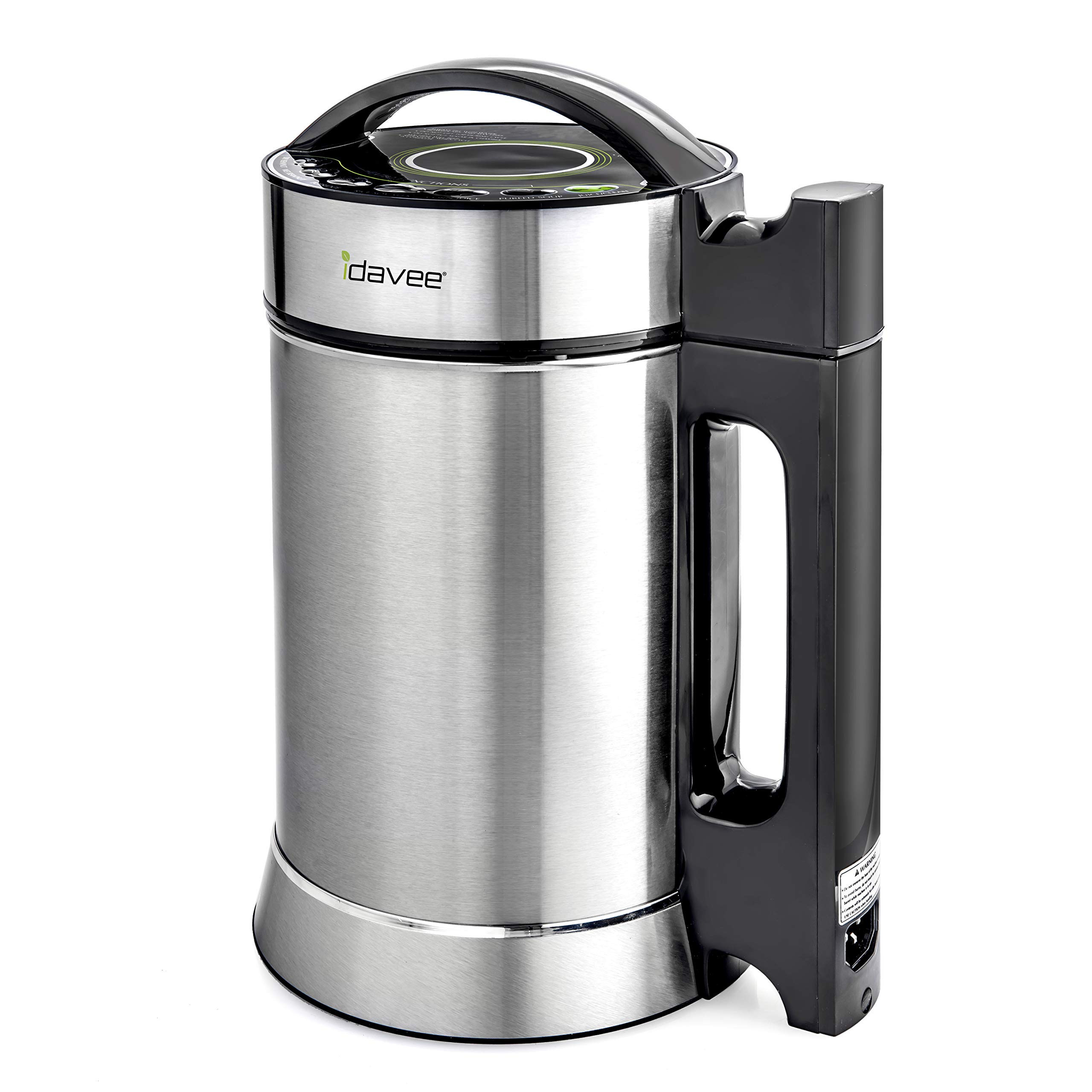 Idavee Brand - PrestoPure IAE15-1.9 Liter Automatic Hot Soy Milk (Almond, Rice, Quinoa Milk) Soup, Porridge & Cold Juice Maker - 2 Layer Stainless Steel - Recipe Booklet