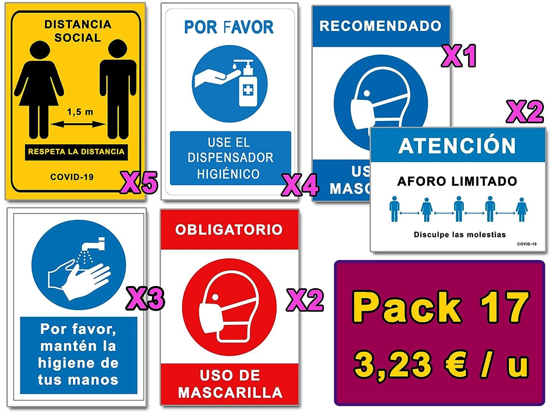 Señalización Coronavirus   Pack Esencial de 17 Señales para Covid-19   5 Distancia, 4 Dispensador, 3 Higiene Manos, 3 Mascarilla, 2 Aforo   Autoinstalables  21x30 cm   Dtos. Cantidad