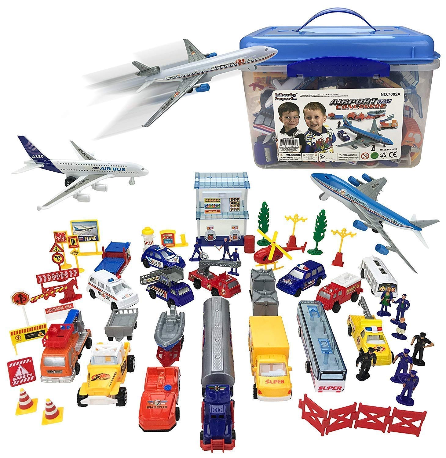 AMPERSAND SHOPS Complete Airport Concourse Vehicle Airplane Workers Cops Police Figurines Accessories Playset with Carrying Case Storage Box by AMPERSAND SHOPS