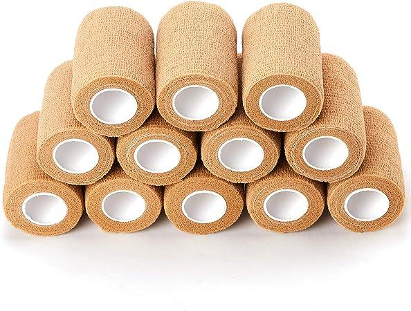 Pet Vet Wrap Cohesive Bandages 12 Rolls x 7.5cm x 4.5m First Aid Sports Wrap Bandages COBOX Cohesive Bandage