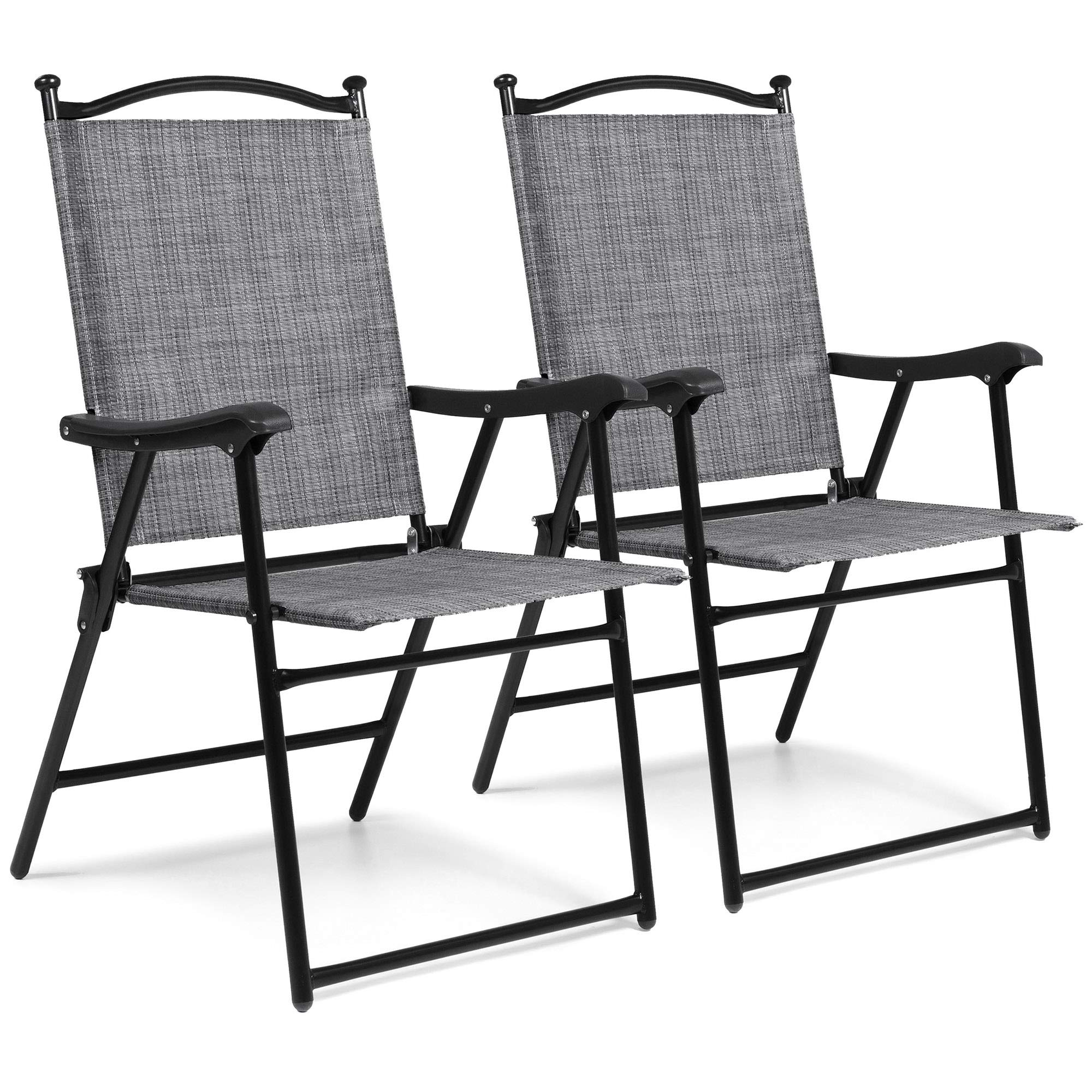 Best Choice Products Set of 2 Outdoor Mesh Fabric Portable Folding Sling Back Chairs for Backyard, Picnics, Beach, Camping, Patio, Porch, Garden, Pool w/UV-Resistance - Gray by Best Choice Products