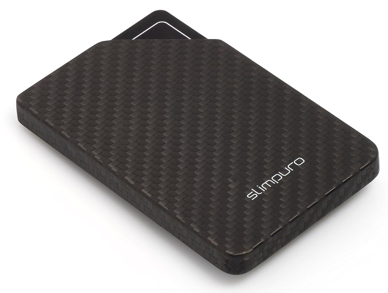SLIMPURO ® Ultraleichtes Carbon Etui – kompaktes Kreditkartenetui aus Karbon – RFID/NFC Schutz – bis zu 8 Karten – Slim-Wallet aus 100% Kohlefaser (ohne Geldklammer) carbon case No.2