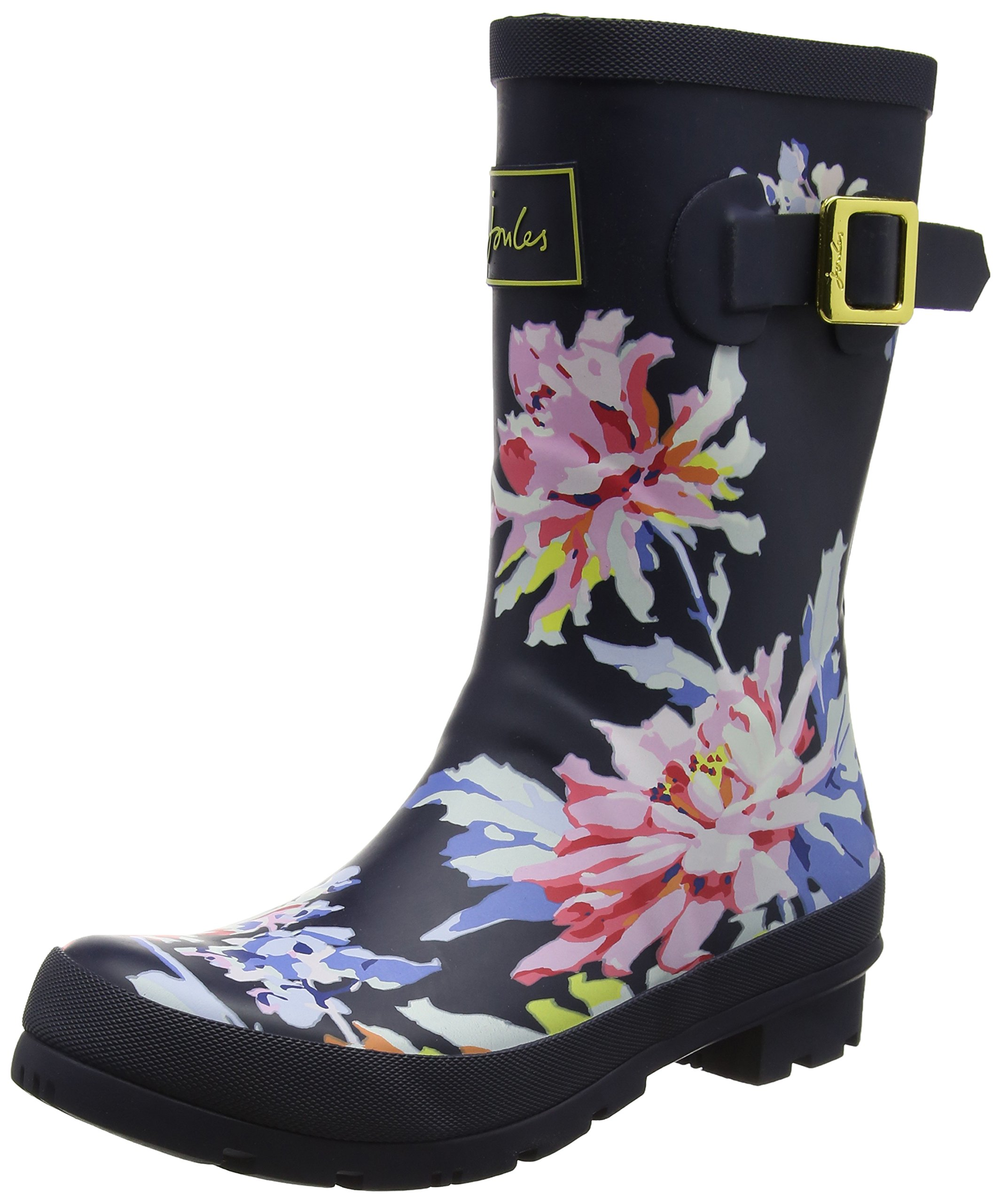 Joules Womens Molly Welly Navy Whitstable Floral Rubber Boots 7 US