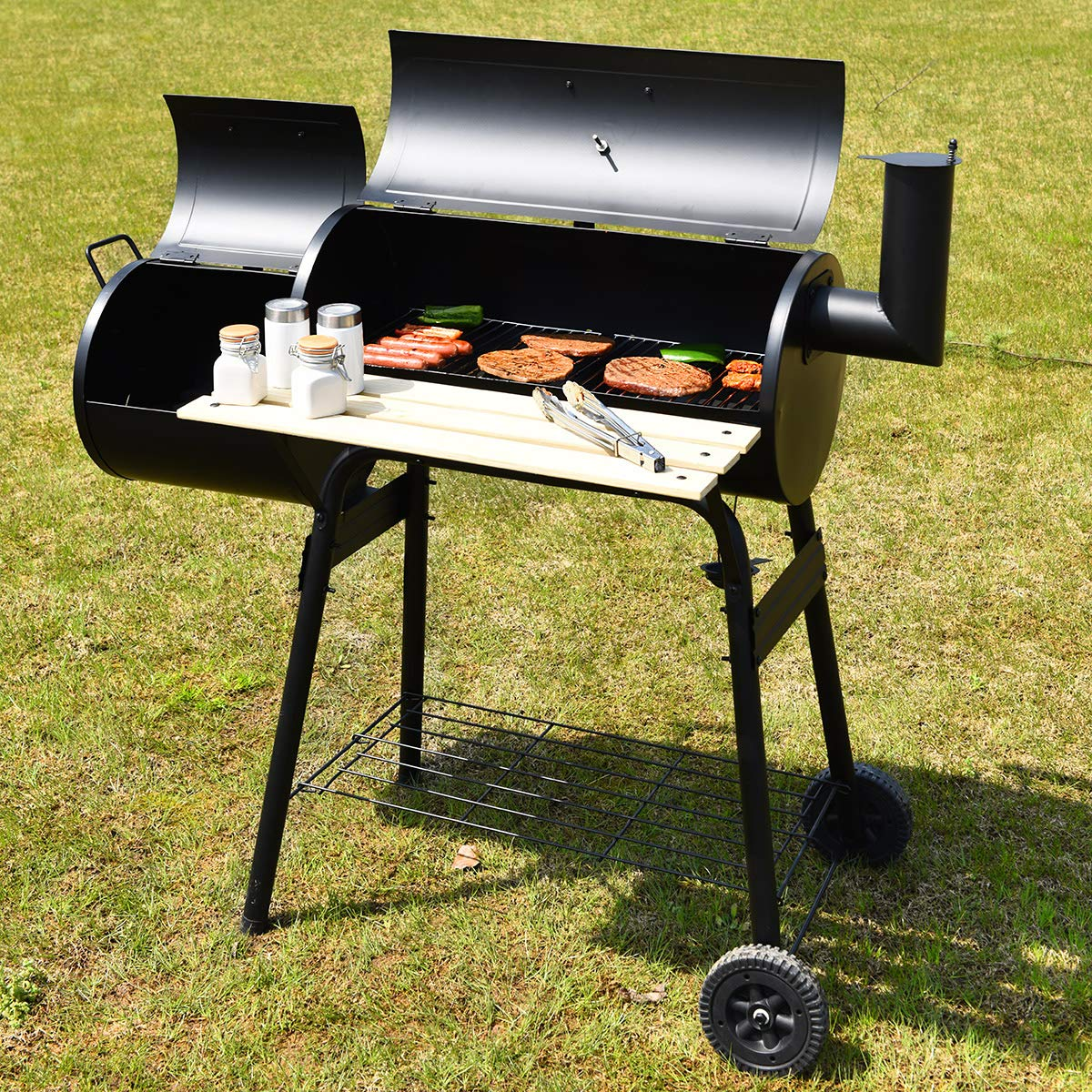 Giantex BBQ Grill Charcoal Barbecue Grill Outdoor Pit Patio Backyard Home Meat Cooker Smoker with Offset Smoker by Giantex (Image #2)