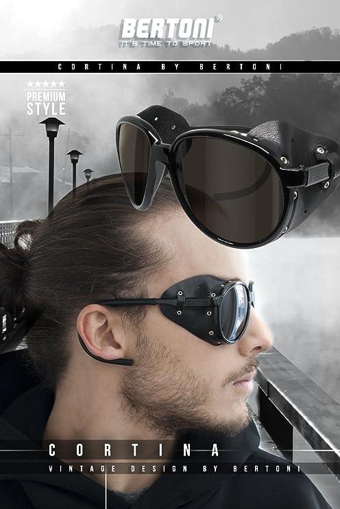 BERTONI Gafas de Sol Polarizadas de Montaña Glaciar Esqui Alpinismo Trekking - mod. Cortina by Italy - Color Negro Brillante (Polarizada Marron): Amazon.es: ...