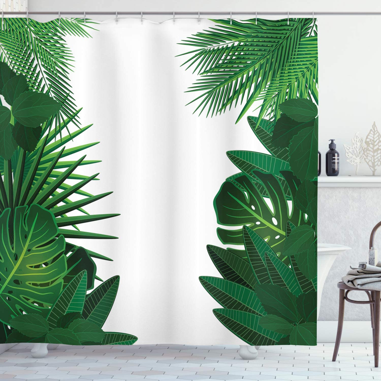 """Ambesonne Leaf Shower Curtain, Exotic Fantasy Hawaiian Tropical Palm Leaves with Floral Graphic Artwork Print, Cloth Fabric Bathroom Decor Set with Hooks, 70"""" Long, Green White"""