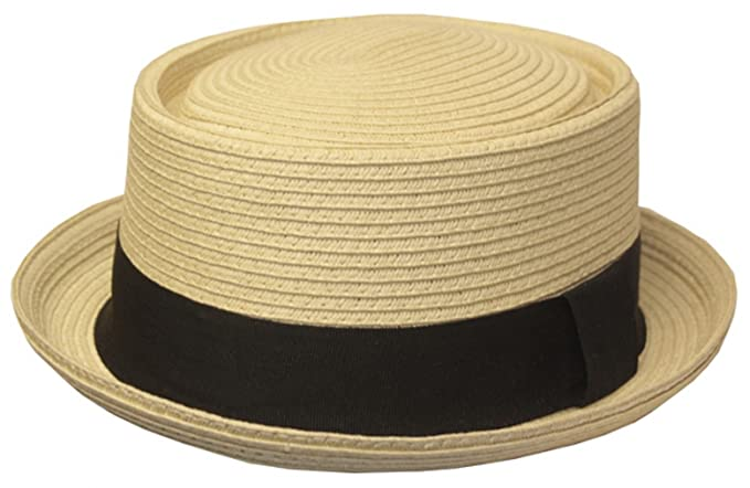 2a0475b716586 Sakkas EH02EH - Mens Structured 100% Paper Straw Flat Top Pork Pie Fedora  Hat -