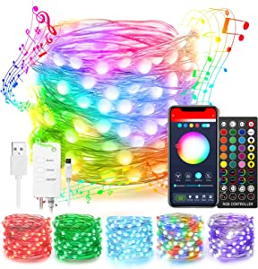 Popotan Alexa Christmas Fairy Lights 16ft Dreamcolor 50LEDs Fairy Lights Work with Echo Google Home, App Controlled, Music Sync, USB Plug in Twinkle Lights for Kid's Bedroom Room Decor