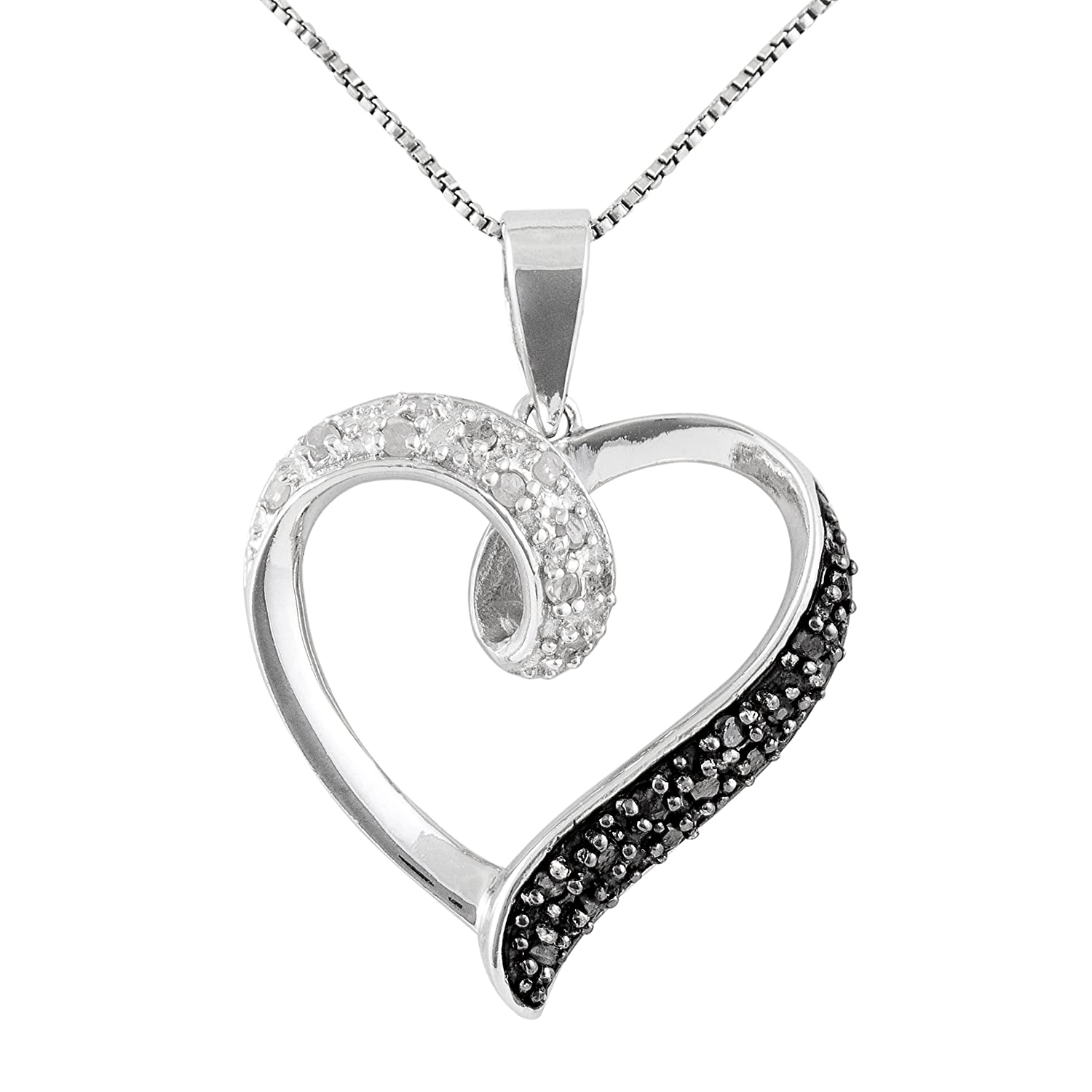 Sterling Silver 1 4 CTTW Black and White Diamond Heart Pendant 60