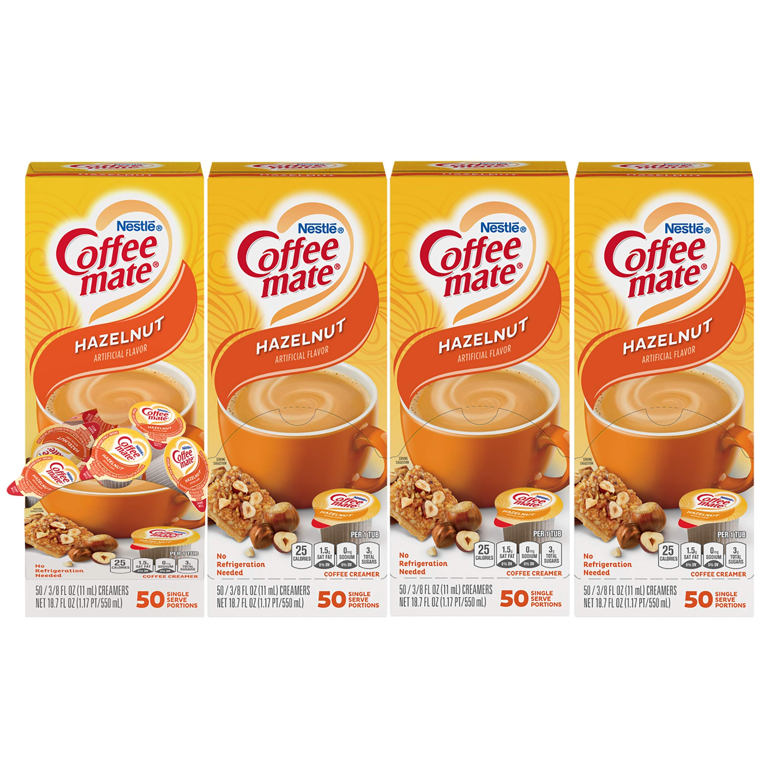 Nestle Coffee mate Coffee Creamer, Hazelnut, Liquid Creamer Singles, Non Dairy, No Refrigeration, Box of 50 Singles (Pack of 4)