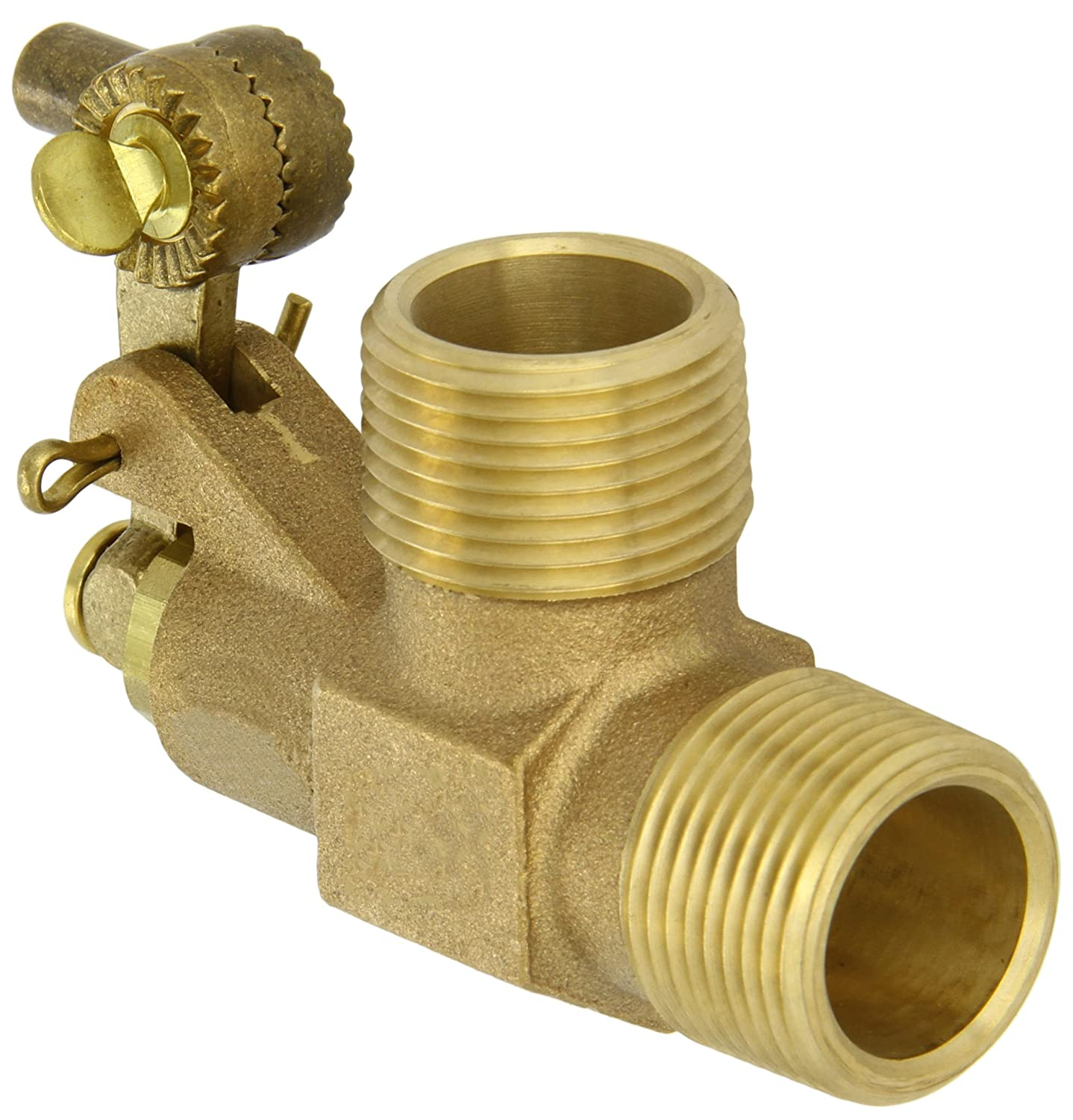 Robert Manufacturing R900 Series Bob Red Brass Float Valve with Fluted Plunger, 1' NPT Male Inlet x 1' NPT Male Outlet, 68.5 gpm at 85 psi Pressure 1 NPT Male Inlet x 1 NPT Male Outlet Control Devices