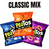 Peatos Crunchy Puffs Snacks, Classic Mix Variety Pack, .6-1 Ounce (15 Count), Junk Food Taste, Made from Peas, Bold Flavors, 4g Protein and 3g Fiber, Pea Plant Protein Snack