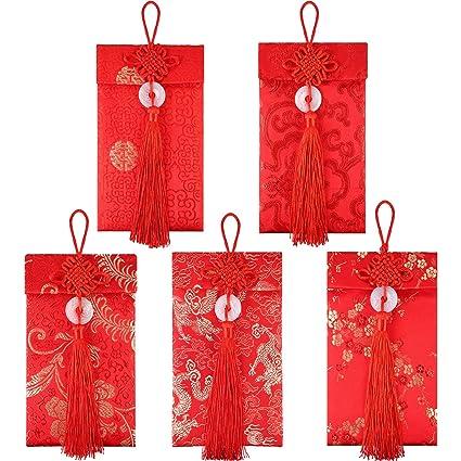 5 Stile Seide Rot Umschläge Chinesische Hongbao Glückliche
