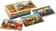 Melissa & Doug Construction Vehicles 4-in-1 Wooden Jigsaw 12-Piece Puzzles (Beautiful Original Artwork, 48 Pieces Total, Gre