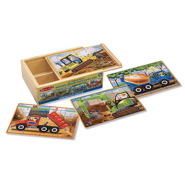 Melissa & Doug Construction Vehicles 4-in-1 Wooden Jigsaw 12-Piece Puzzles, Beautiful Original Artwork, 48 Pieces Total