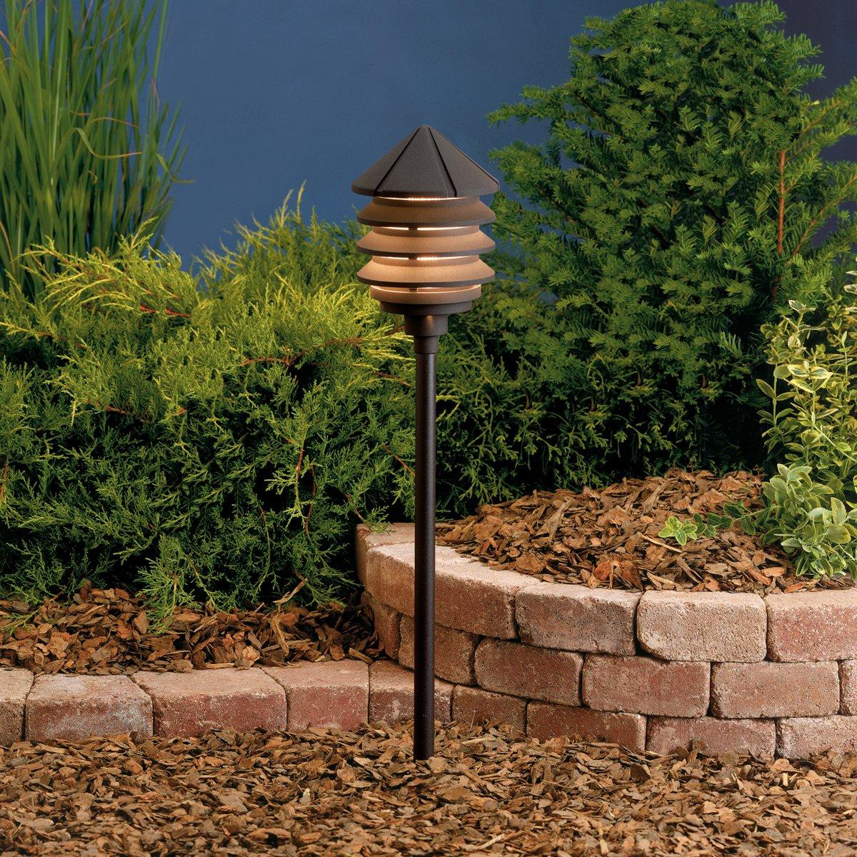 Kichler 15005AZT, Six Groove Low Voltage Post Landscape Path Lighting Fluor, Arch Bronze