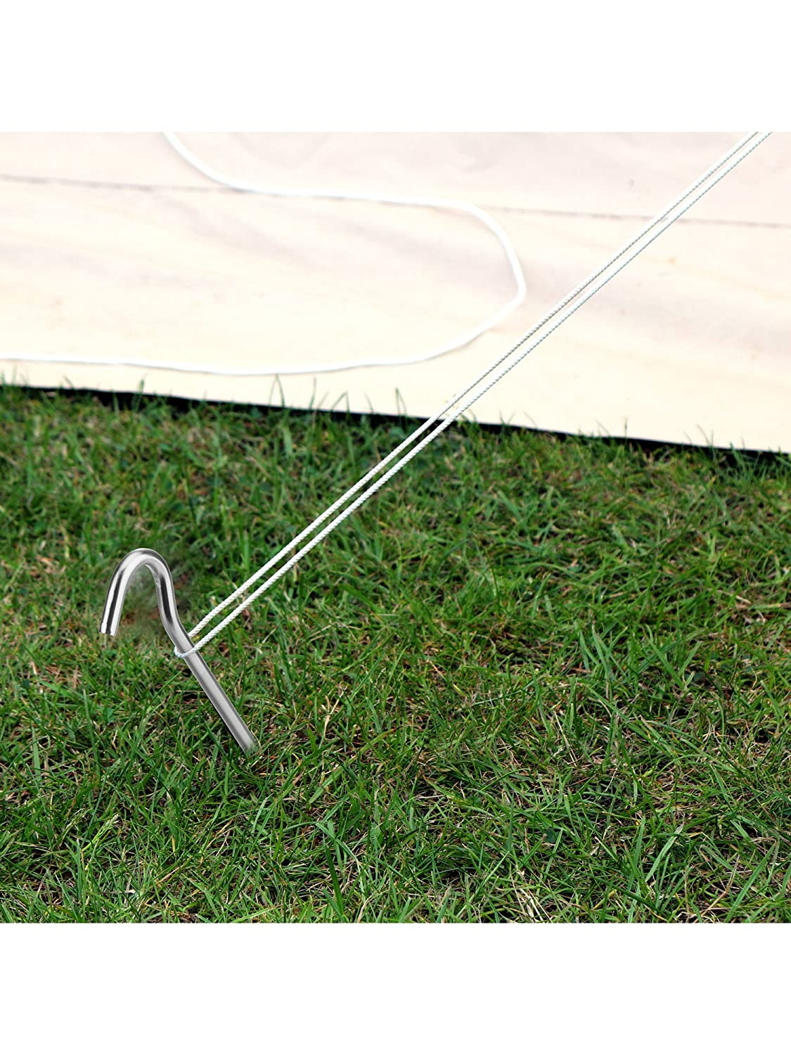 Hiking 18 cm x 6 mm 12 Pack Tent Pegs Aluminium Alloy Tent Stakes with Drawstring Bag for Outdoor Camping Trip