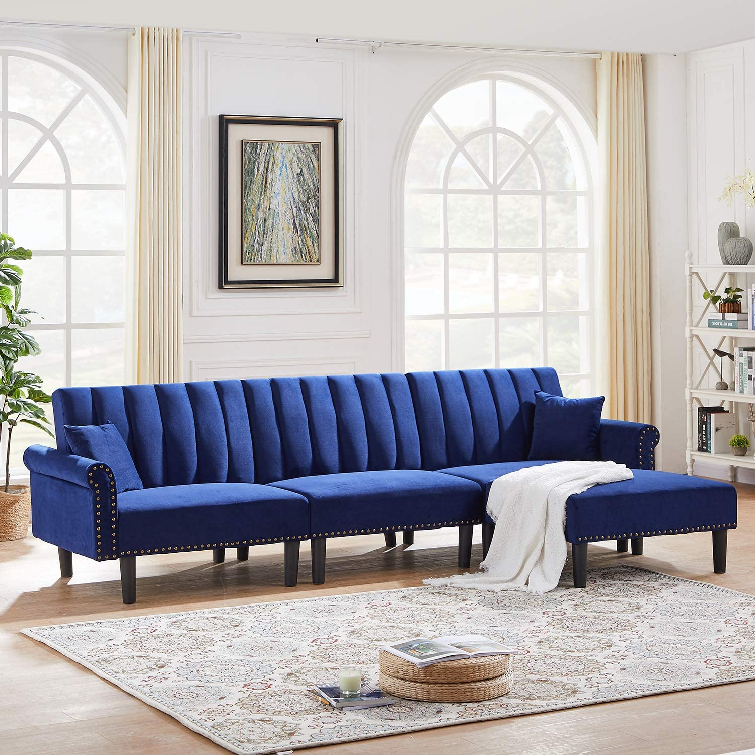 Dklgg Futon Sofa Bed Sectional Couch 4 Seater Modern Velvet Fabric Classic Upholstered Couches With Super Soft Cushion For Living Room Navy Blue Furniture Decor