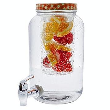 Dispensador de bebidas con grifo y soporte para fruta, dispensador de cristal con tapa en diferentes colores a elegir: Amazon.es: Hogar