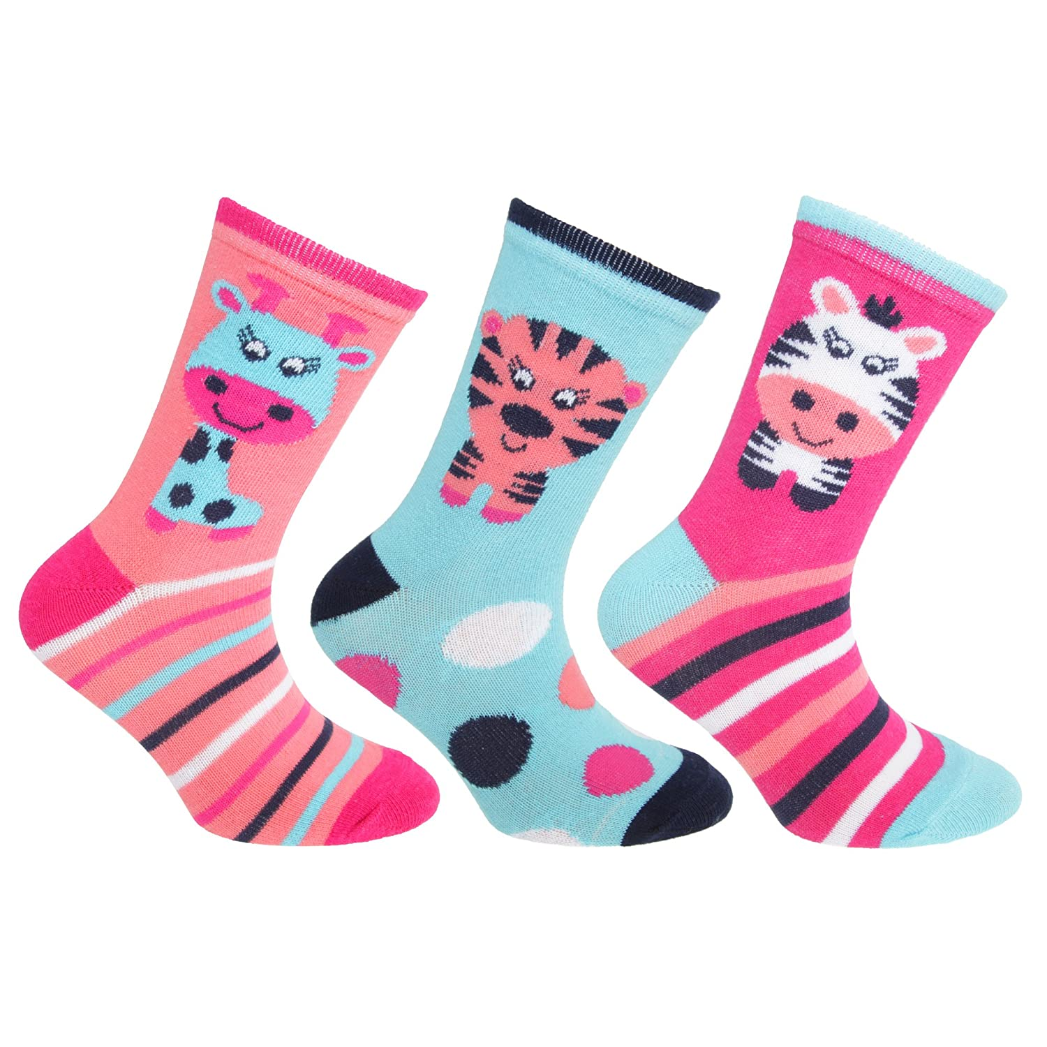 Childrens/Kids Cotton Rich Animal Socks (3 Pairs) Universal Textiles