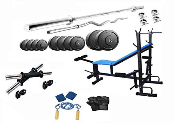 Protoner 20 Kgs PVC weight with 8 in 1 Bench home gym package Strength Training Equipment