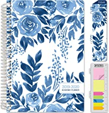 """HARDCOVER Academic Planner 2019-2020: (June 2019 Through July 2020) 5.5""""x8"""" Daily Weekly Monthly Planner Yearly Agenda. Bonus Bookmark, Pocket Folder and Sticky Note Set (Blue Bloom)"""