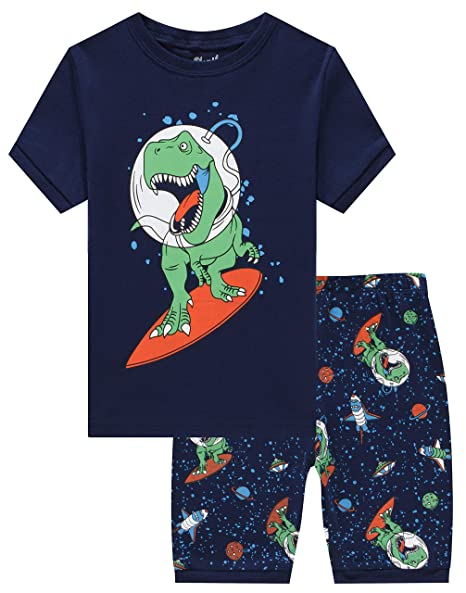 49c3cc14c02f Slenily Pajamas for Boys Children Summer Pjs Shorts Kids Cotton Dinosaurs  Sleepwear Set Size 5T