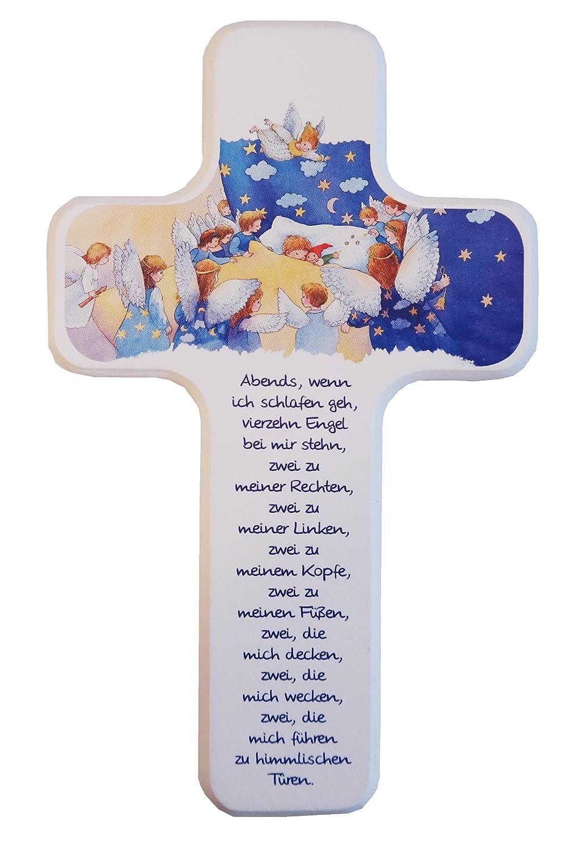 Babykreuz * Buche massiv, weiß lackiert, vierfarbig bedruckt * 18 x 11 cm weiß lackiert MaMeMi