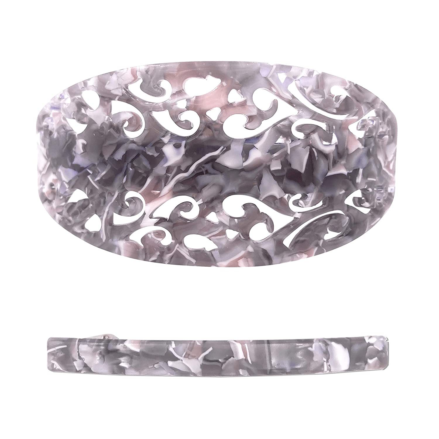 Strong Large Hair Barrette Set For Thick Hair Grey Marble Filigree for Women : Beauty