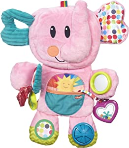 Playskool Fold 'n Go Elephant Stuffed Animal Tummy Time Toy for Babies 3 Months and Up, Pink (Amazon Exclusive)