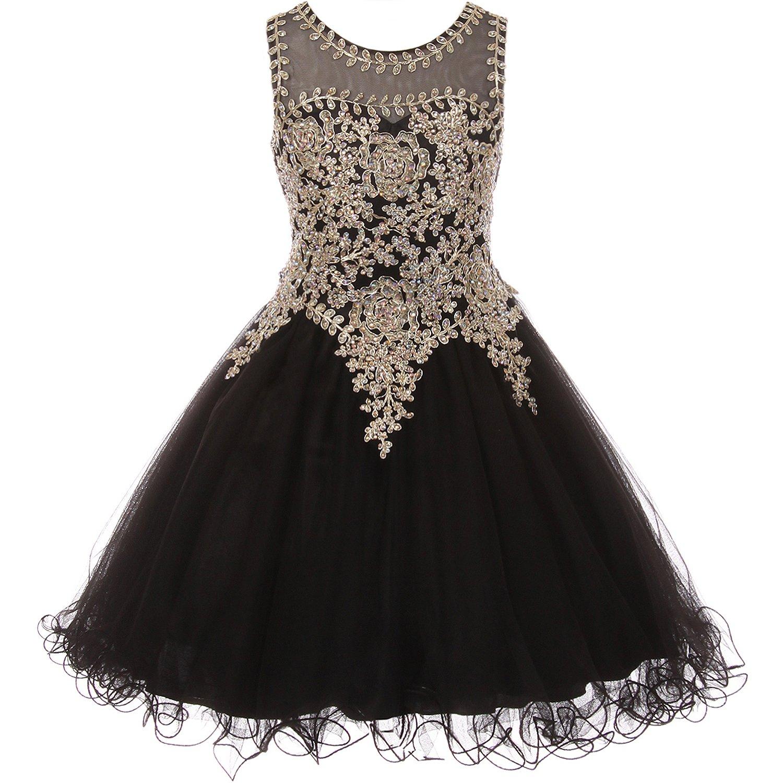 Big Girls Gold Trimmed Corset Back Closure Wired Tulle Skirt Flower Girl Dress Black - Size 16