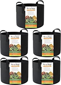 Honest Outfitters 5-Pack 15 Gallon Smart Grow Bags /Plant Container/Aeration Fabric Pots for Potato with Handles (Black)