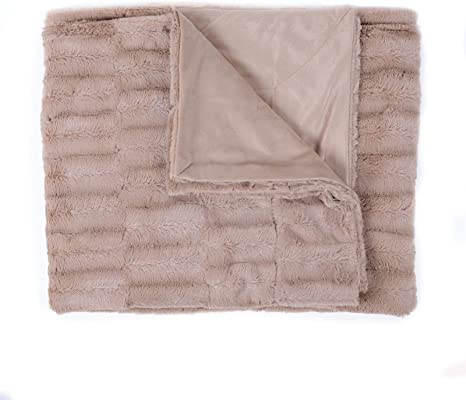 Popular Home Decorative Reversible Faux Fur Mink Throw Blanket 50 X 60 Box Pattern Color Taupe Home Kitchen