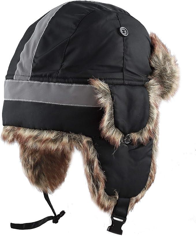 BLACK TRAPPER AVIATOR HAT Fur Bomber Cap winter ski ear flaps trooper S//M
