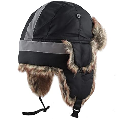 6d70a385c0456 Amazon.com  THE HAT DEPOT Faux Fur Safety Reflective Aviator Kids Adult  Trapper Hat Snow Ski Trooper Winter Cap  Clothing