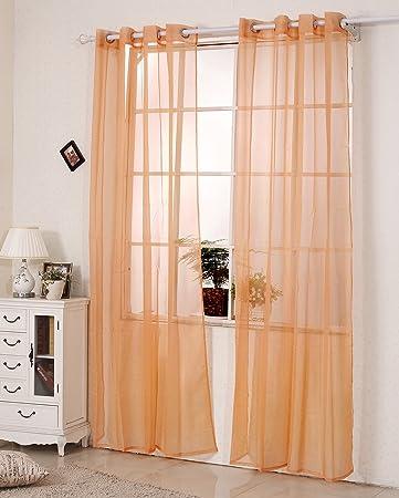 WOLTU VH5514tk 2, 2er Set Gardinen Vorhänge Transparent Mit Ösen Stores,  Doppelpack Ösenvorhang