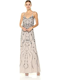 Adrianna Papell Womens Floral Beaded Blouson Gown At Amazon Womens