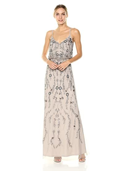 7509c4ce0bda Adrianna Papell Women's Floral Beaded Long Blousson Dress Gown Special  Occasion: Amazon.co.uk: Clothing