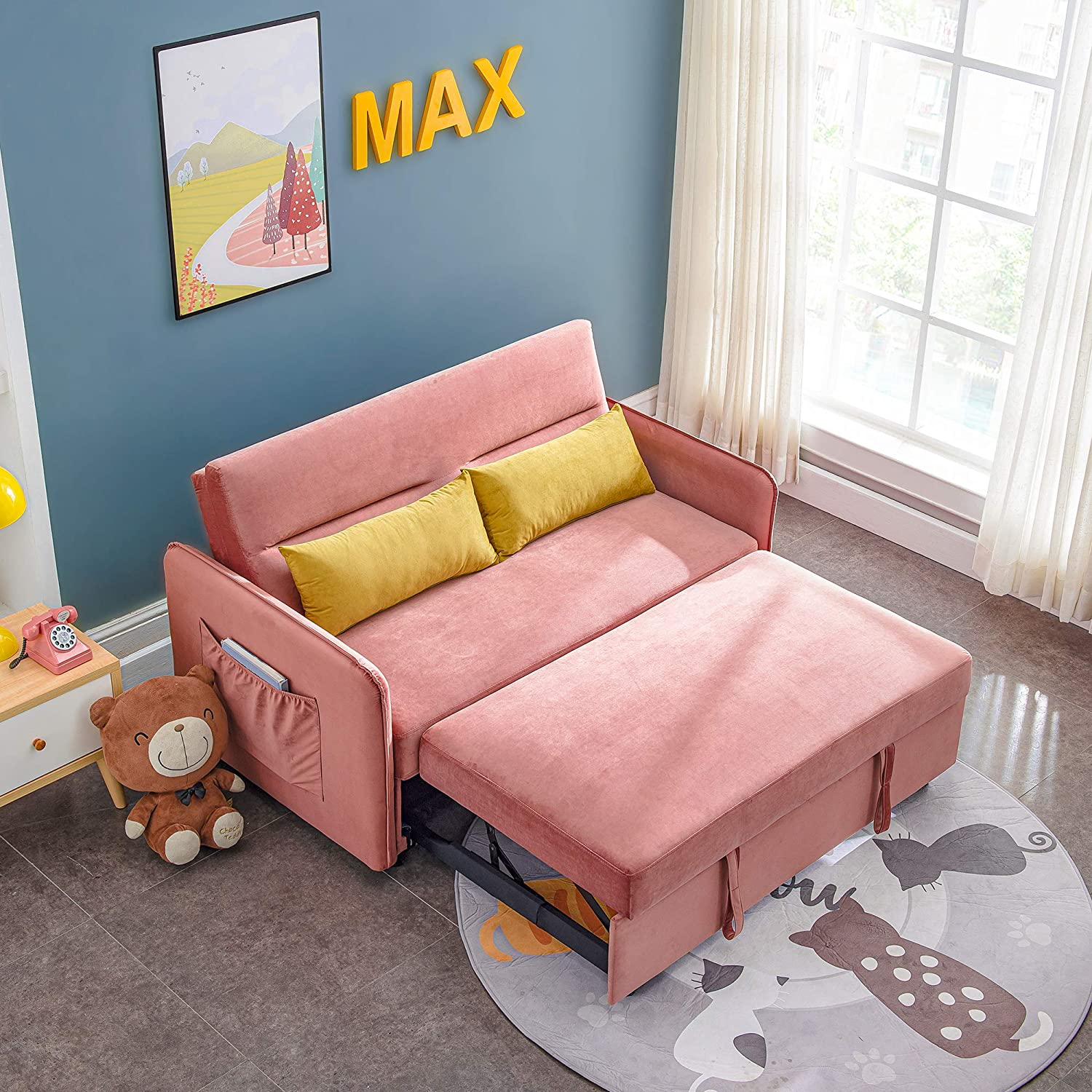 NOUVCOO Pink Soft Velvet Pull Out Sleeper Couch Sofa Bed for Living Room & Apartment Small Space, with 2 Lumbar Pillow and Storage Bag