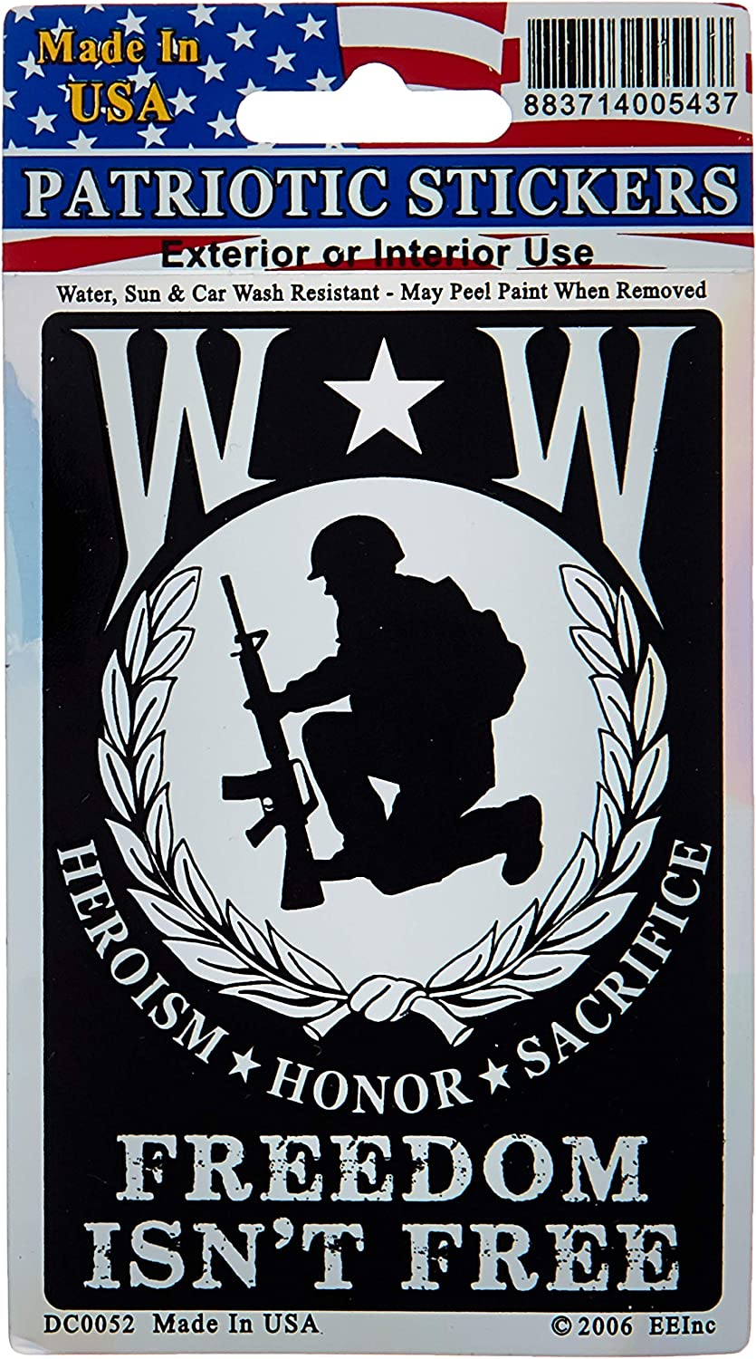 EagleEmblems DC0052 Sticker-Wounded Warrior ''Freedom Isn't Free''